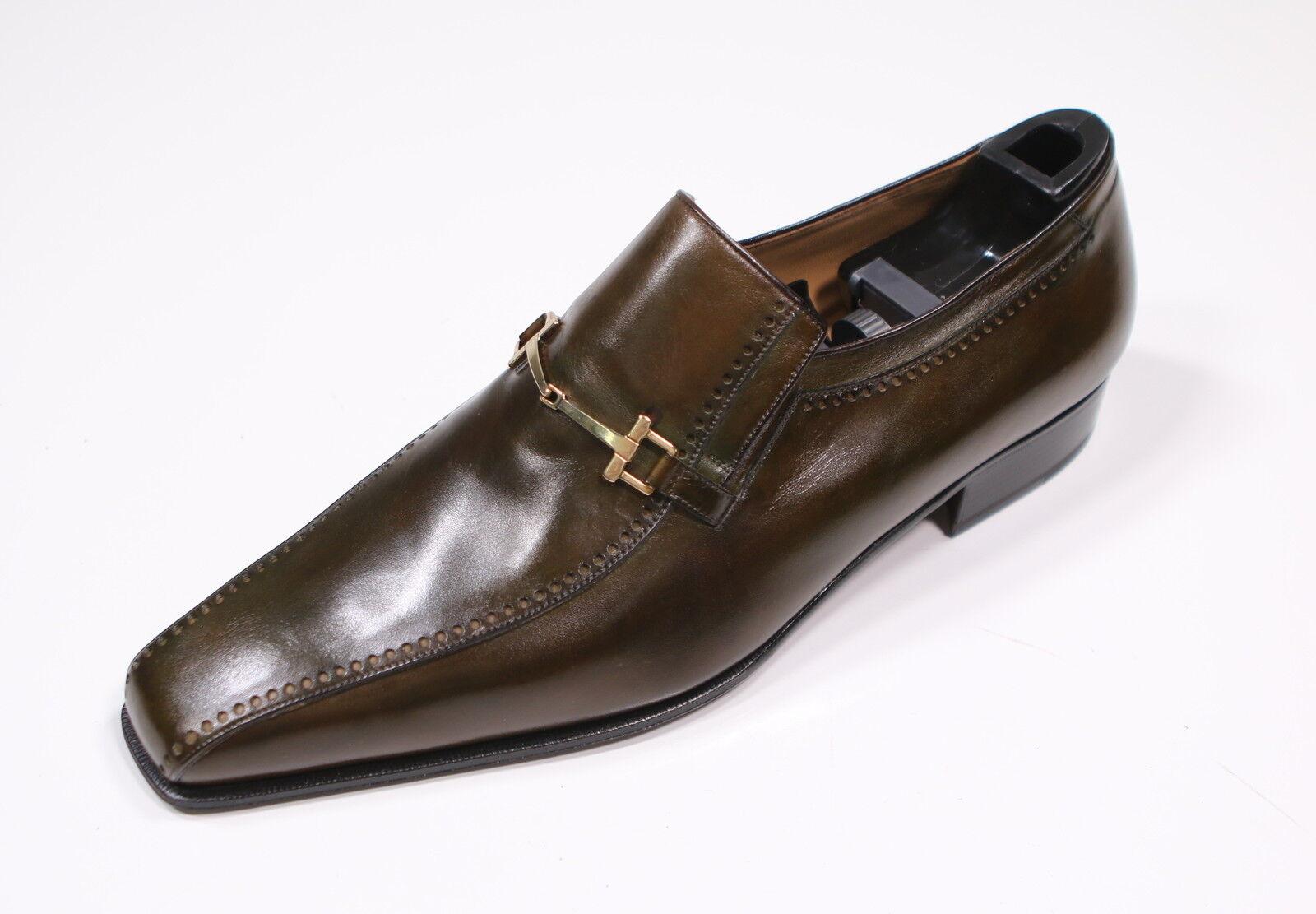 punto vendita New     BRIONI  Dark verde Patina Leather oro Buckle Loafers US 12  autorizzazione