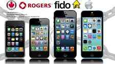 ROGERS FIDO FACTORY UNLOCK SERVICE iPHONE 4 4s 5 5c 5s 6 6s 6+ 6s+ SE 7 7+