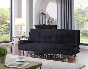 Crushed Velvet Fabric Sofa Bed 3 Seater Sofabed