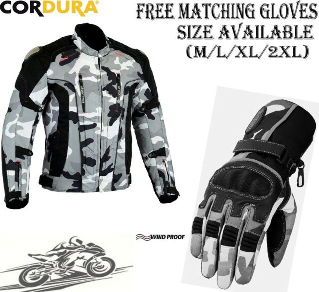 CAMO HAWK MENS EXTRA PROTECTION CE MOTORBIKE MOTORCYCLE TEXTILE JACKET & GLOVES