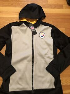 check out 150ff 8c574 Details about PITTSBURGH STEELERS HOODIE Boys Youth Sz L NFL Team Apparel  Nwt