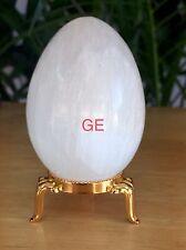 White Selenite Egg W/Stand Selenite Crystal Gemstone Specimen Reiki Chakra Heal.