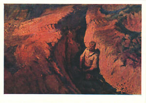1958-VR-Russian-postcard-SCORCHED-EARTH-People-in-deep-trench-moat-by-B-Nemensky