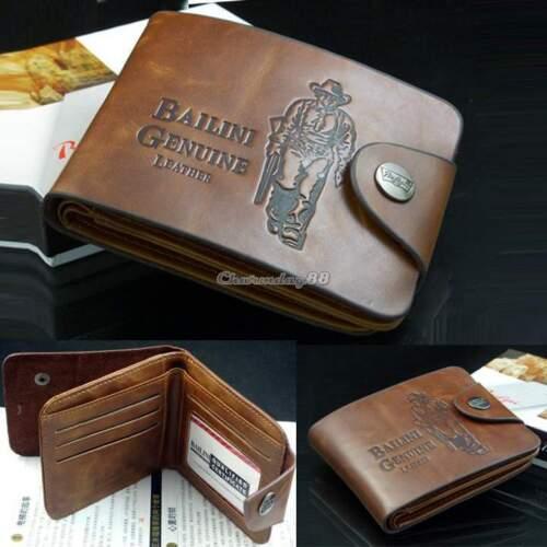 Genuine Mens Retro Cowboy Leather Bifold Wallet Multi Pocket Credit Card Purse@@
