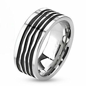 R80-Herren-Ring-Edelstahl-Spirale-MIT-SCHMUCKBEUTEL-Ringe-Mens-Men-Rings-Band