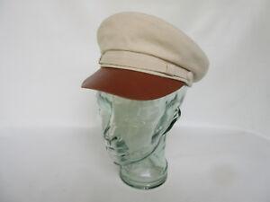 Süß GehäRtet Canvas Fiddler Natural Leather Visor Hat Brando Gasoliner Cap Rockabilly Vintage