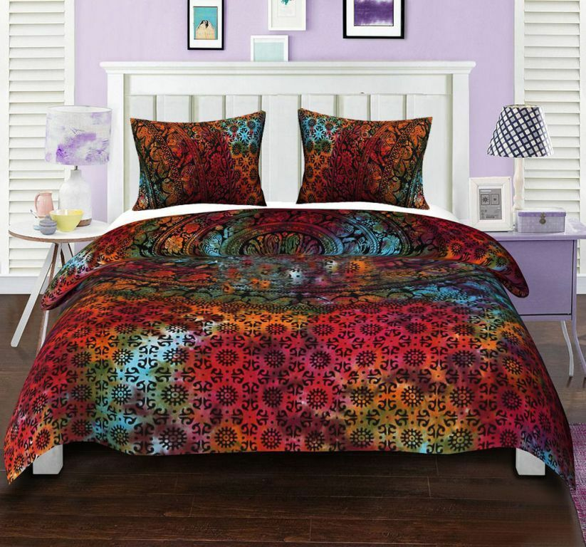 Indian Duvet Quilt Cover Bedding Set Double Queen King Size With Pillow Case