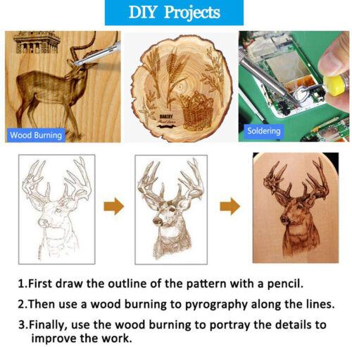 65PCS Wood Burning Kit Set Tool Pen Pyrography Supplies Iron Tips Art Craft 60W