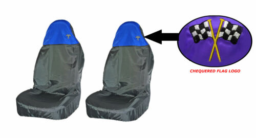 Waterproof Chequered Flag Logo BLUE Resistant Front Seat Covers Pair BLACK