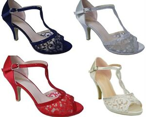 NEW WOMENS SATIN   LACE T BAR PROM PARTY WEDDING BRIDAL MID HEEL ... fa40dbee45db