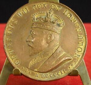 * Médaille Eduardus Vii Rex Et Imperator 1902 Insenga Napoli Medal 铜牌 MatéRiaux De Qualité SupéRieure