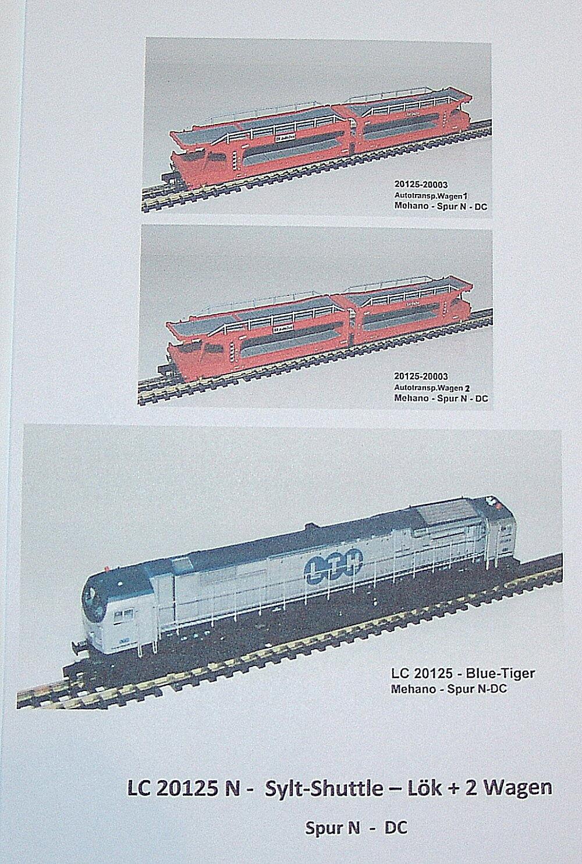 Mehano 20125 - 20125 N Gauge sylt-shuttle, bluee-tiger LTH +2 autotransp. DC
