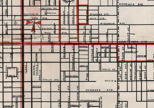1950s Map of DeLand Volusia County Florida