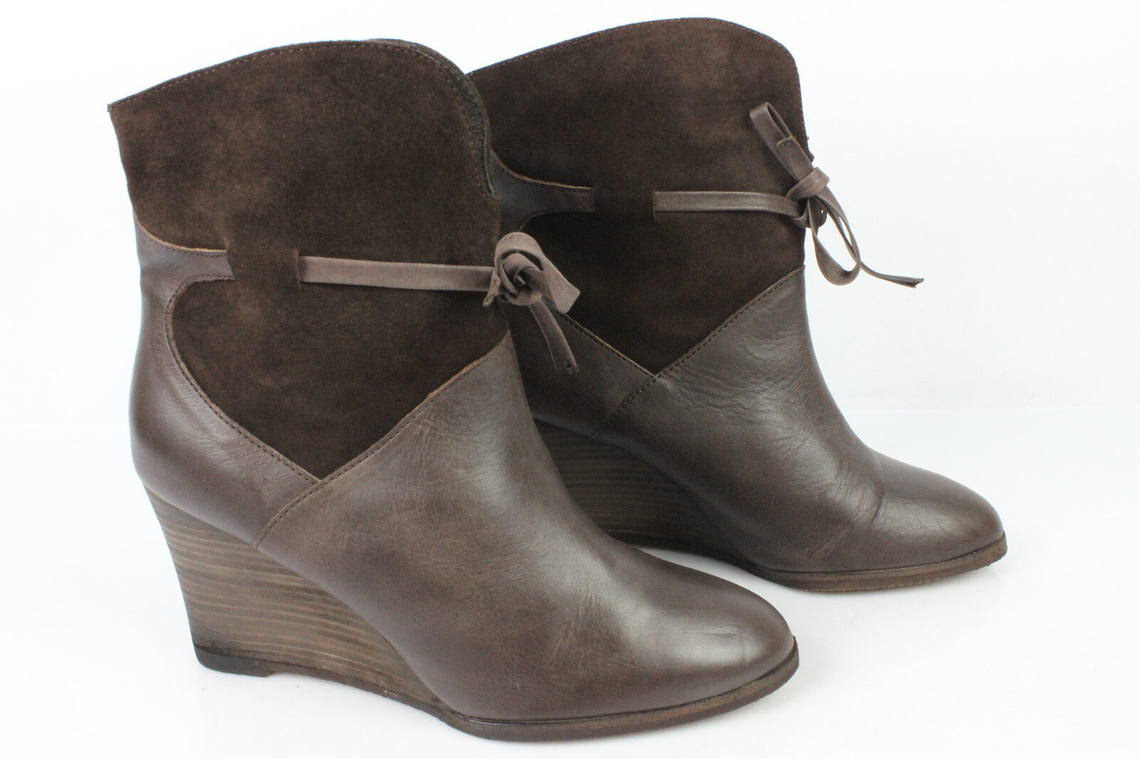 Boots Wedge Heels COMPTOIR DES COTONNIERS Leather and Suede Brown T 39