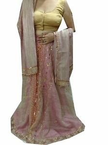 Wedding & Formal Occasion Om Vintage Indian Wedding Tissue Hand Beaded Purple Lehenga Blouse Dupatta Lp89