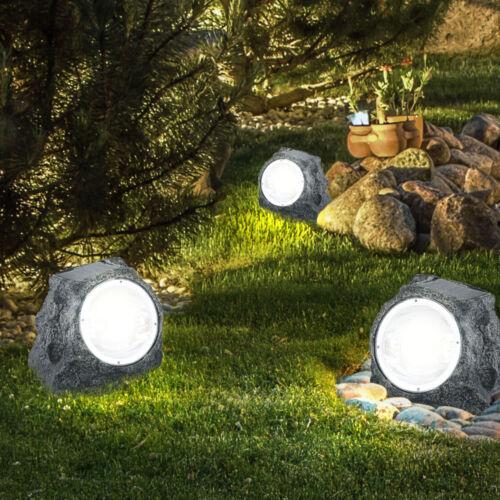 3er Set LED Außen Solar Lampe Garten Leuchte Stein Design Weg Hof Beleuchtung