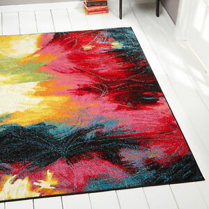 Rugs Swirls Contemporary Modern Area Rug Multi Color Abstract Paint