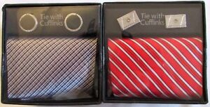 NEW-GIFT-BOXED-2-X-TIE-amp-CUFFLINKS-SETS-RED-BLACK-SILVER-FATHERS-DAY