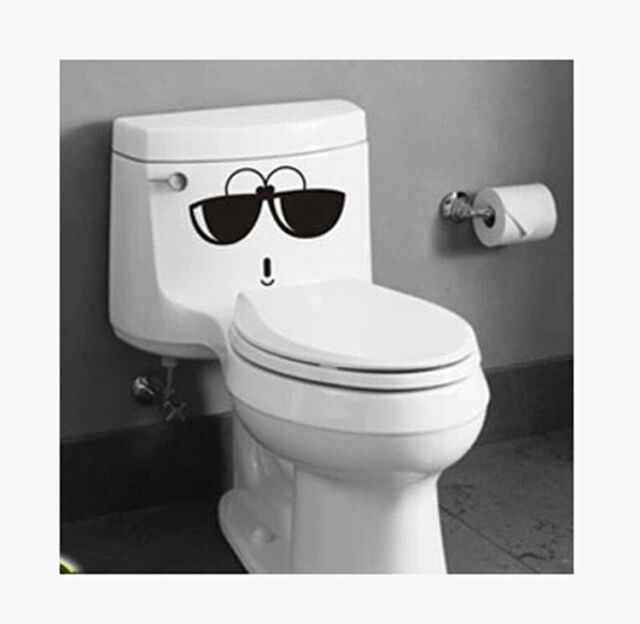 RQQ Funny Glasses Face Toilet Seat Wall Vinyl Home Art Bathroom Decal Decor