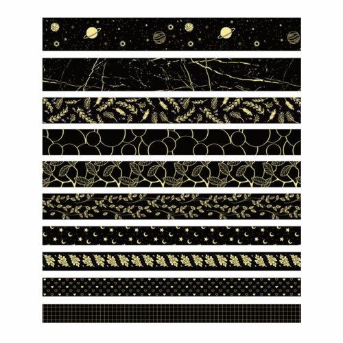 10 Rolls Black Gold Foil Washi Tape Set Paper Scrapbooking Adhesive DIY Stickers