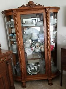 Image Is Loading Antique Victorian Tiger Oak China Cabinet With Lion