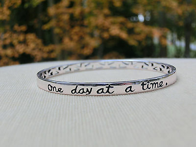 Solid Sterling Silver Bangle Bracelet - One day at a time. NIB! Free U.S. Ship!