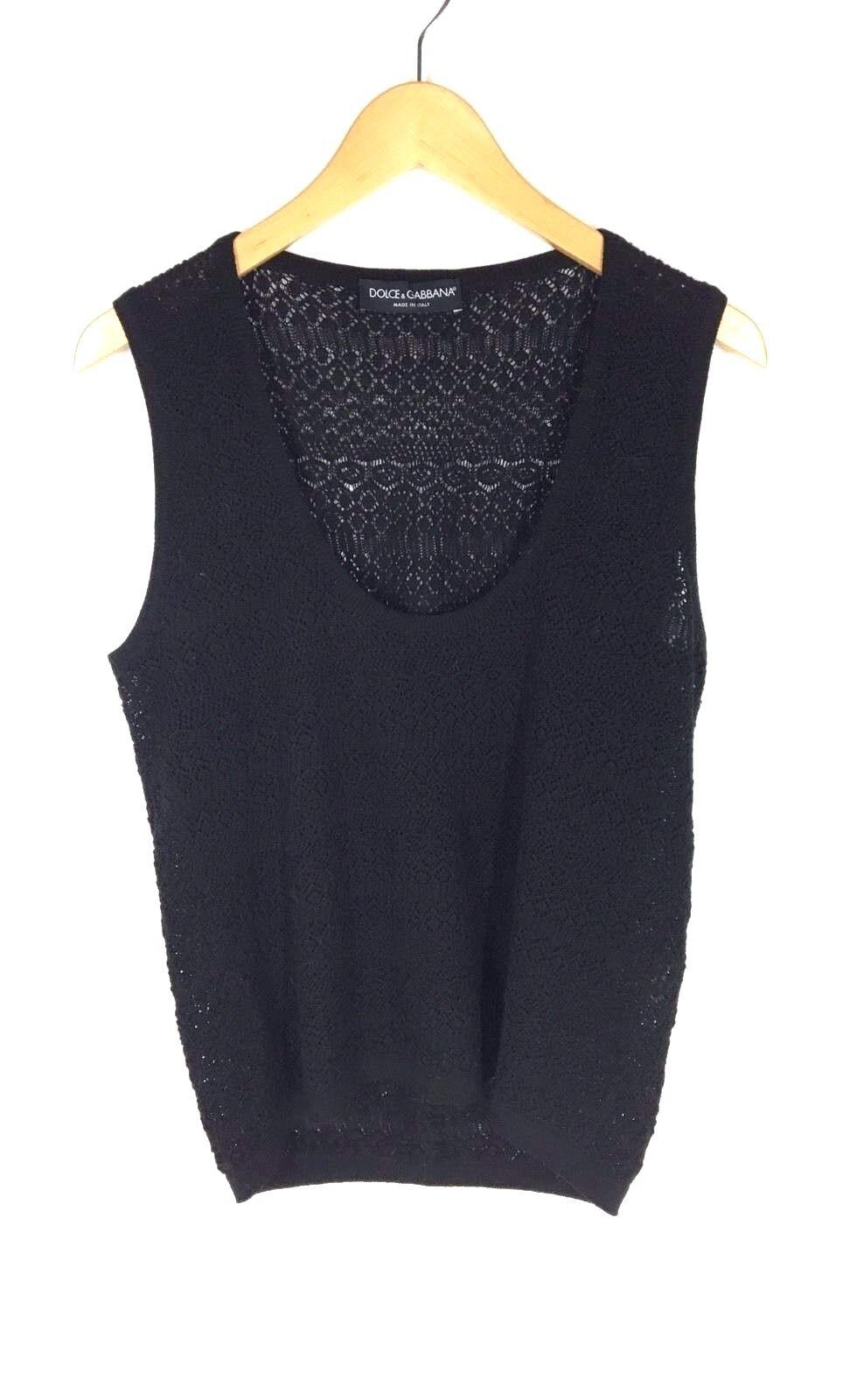 Dolce & Gabbana Size 44 Black Knit Wool Top - image 1