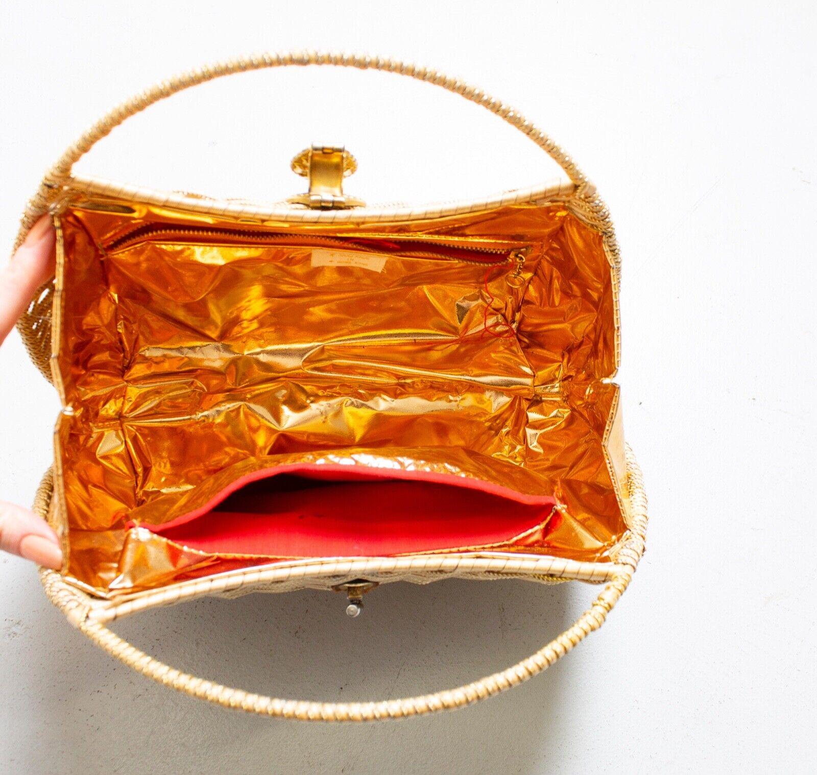 Vintage Basket Purse 1960s Gold Metal Woven Wicke… - image 10
