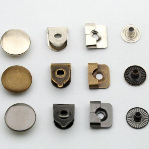 20 sets de 4 pieces métal argent Agrafes et barrettes de pantalon 15 mm