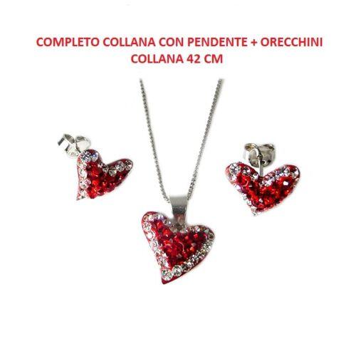 Collana Con Pendente Cuore Orecchini Cuore In Argento 925