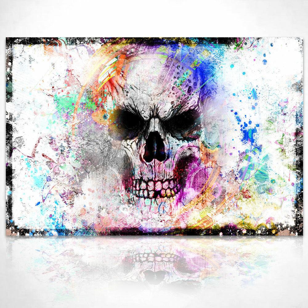 Totenkopf Bunt Farbe Deko Bild auf Leinwand Abstrakte Bilder Wandbilder D1877