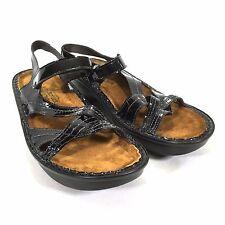 NAOT Paris Sandal Black Patent Leather Womans 40 US 9 Wedge Comfort