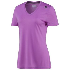 Women-039-s-Reebok-Supremium-Short-Sleeve-V-Neck-Vicious-Violet-T-Shirt-X-Small