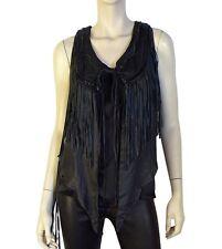 ALL SAINTS women's Biker Spitalfields Black Leather Fringed Vest jacket UK 8 US