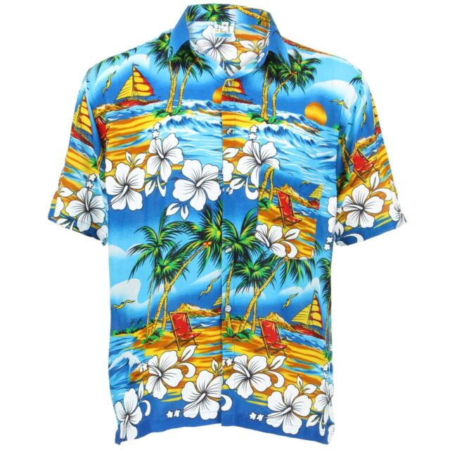 Hawaiian Hawaii Mens Shirt Stag Do Night fancy dress Loud Holiday Light Blue