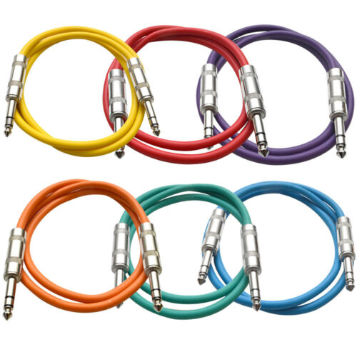 """SEISMIC AUDIO 6 PACK Colored 1//4/"""" TRS 3/' Patch Cables"""