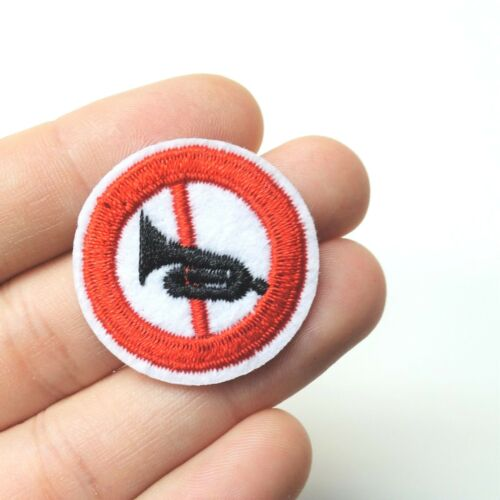 No Horn Trumpet No Noise Patch Iron-On//Sew-On Embroidered Applique Alt Punk Goth