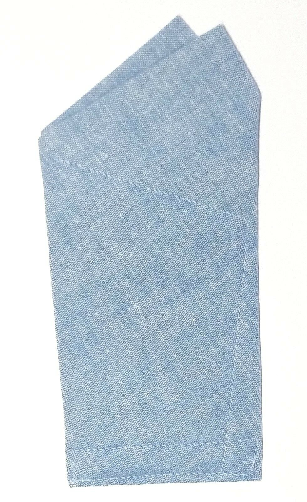 POCKET SQUARE Blue Chambray 2 point wing - folded & Sewn ready to slip in pocket