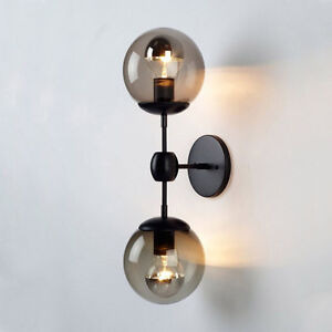 buy popular 67629 23463 Details about Modern Globe Wall Sconce Double Arms Glass Ball Wall Light  Bubble Wall Lamp