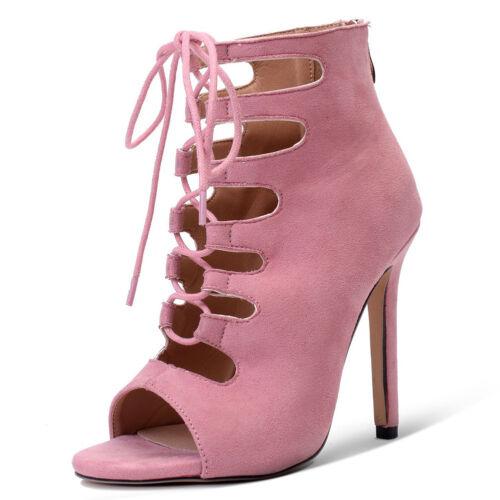 Women Lace Up Peep Toe High Heels Sandals Zip Ankle Boots Party Shoes Stilettos