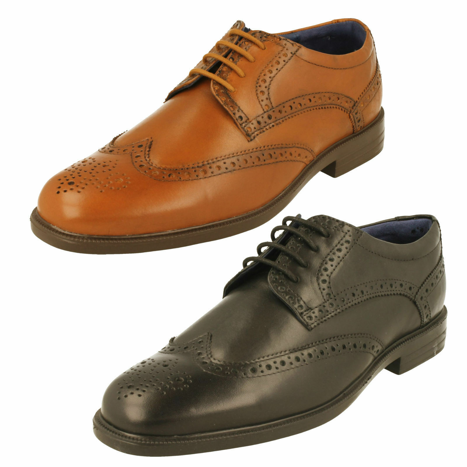 Mens Tan Leather Lace Up Brogue Padders Formal Shoes Berkeley