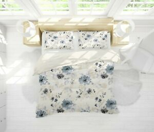 3D-White-Flower-Quilt-Cover-Duvet-Cover-Comforter-Cover-Single-Queen-King-3pcs