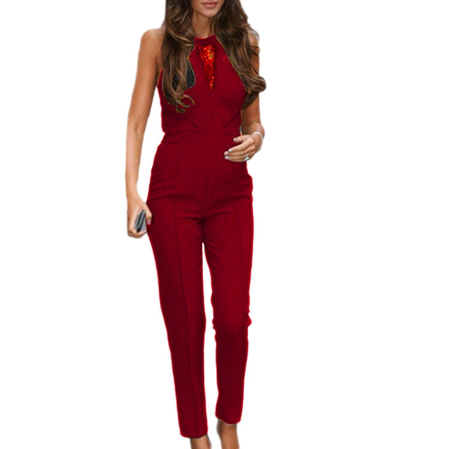 UK Women Ladies Casual Holiday Sleeveless Bodycon Romper Jumpsuit Club Party