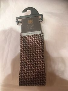 M-amp-S-MENS-COLLECTION-Woven-Pure-Silk-Brown-MIX-BNWT