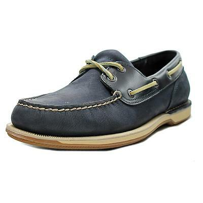 Rockport Perth Men  Moc Toe Leather Blue Boat Shoe