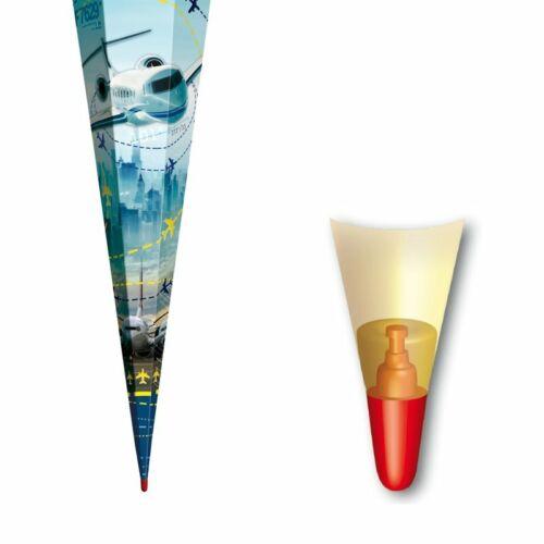 Schultüte Zuckertüte mit Drachen 85cm hoch mit Hologrammfolie /& Silbertüll