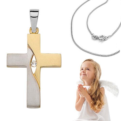 Kinder Erst Kommunion Konfirmation Taufe Kreuz Kette Echt Silber 925 vergoldet