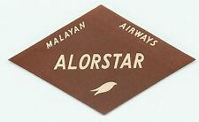 SINGAPORE MALAYAN AIRWAYS TO ALORSTAR VINTAGE AIRLINE LUGGAGE LABEL