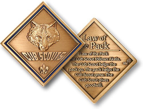 Cub Scout Law of the Pack Challenge Coin Rank Badge Patch Insignia Boy Scouting