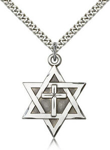 e15823453f4 Sterling Silver Jewish Star Of David Catholic Cross Necklace For Men ...